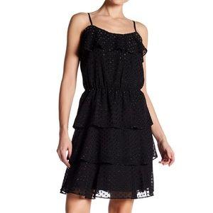 Parker Texture Dotted Ruffle Slip Dress, XS